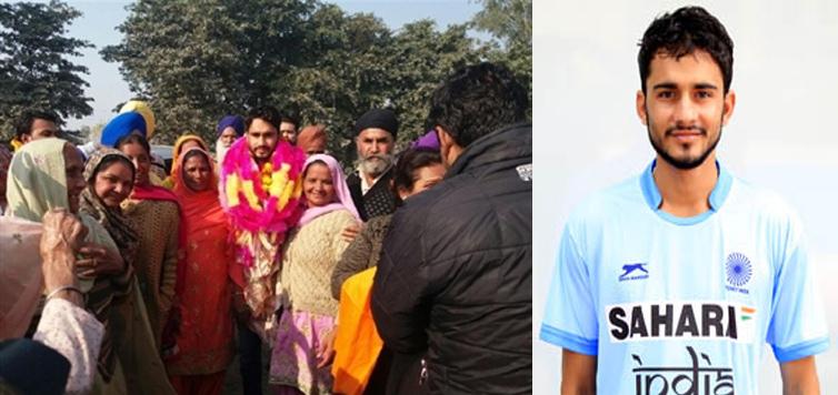 नरोट मेहरा में हुआ हॉकी खिलाड़ी विक्रमजीत का स्वागत