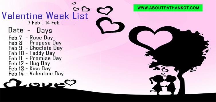 Valentine Week List 2017