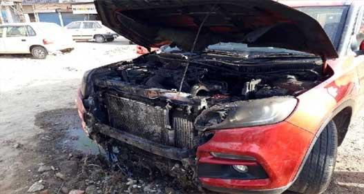 खड़ी कार में लगी आग