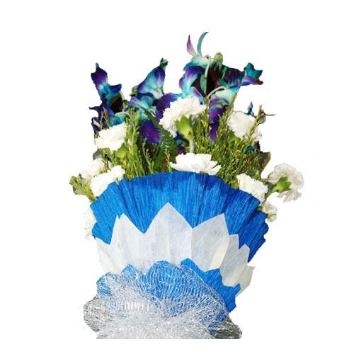 Carnations Blue White