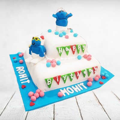 Twins Fountain Cake Blue Chocolate 8 Pounds Eggless