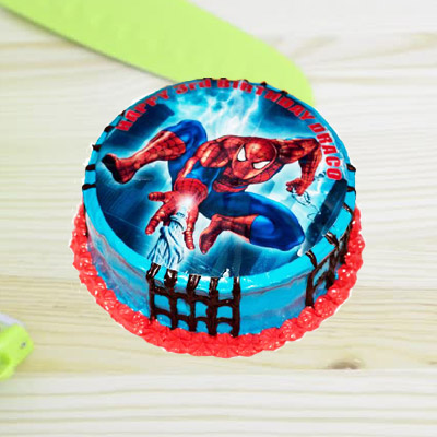 Spiderman Photo Chocolate Cake Round 1kg Eggless 1750
